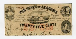 1863 25c The State Of Alabama Note - Civil War Era Unc photo