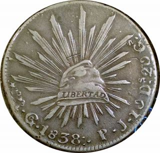 Mexico 1838 Guanajuato Cap & Rays 8 Reales - Extremely Fine Coin photo