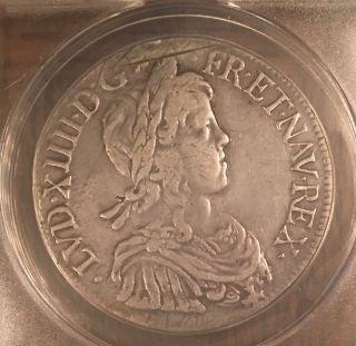 France Louis Xiv Large Silver Ecu Anacs 1648 Montpelier photo
