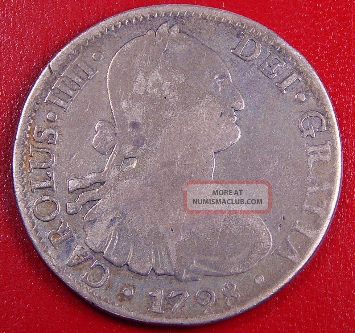 1798 Mexico 1 Real Carolus Iiii Dei Gratia Silver Mexican