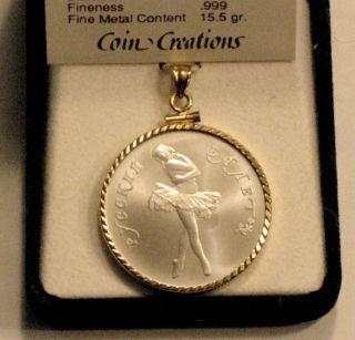 Rare Uncirculated Cccp / Ussr Ballerina Coin Pendant,  Palladium,  10 Rubles,  Gold photo