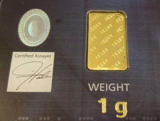 1 Gram 9999 24k Gold Igr Bar - Istanbul Gold Refinery (in Assay) 1 Gr photo