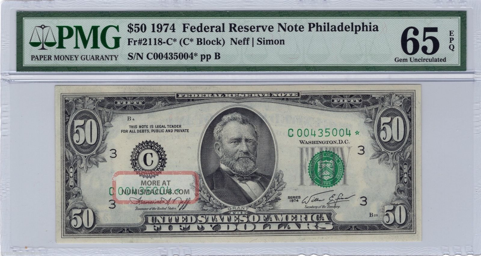 Pmg 65 Epq Gem Uncirculated 1974 $50 Federal Reserve Star Note Fr 2118 - C Small Size Notes photo