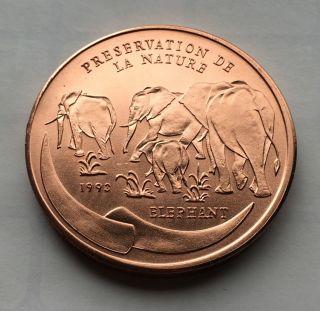 1993 Congo Republic 100 Francs Unc - Elephants/woman With Tablet Fp35 photo