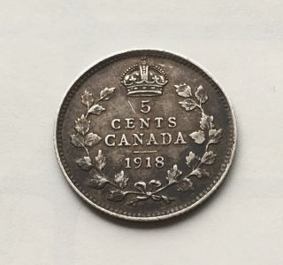 1918 Canada 5 Cents Silver Coin Fp43 photo