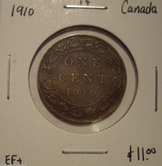 Canada Edward Vii 1910 Large Cent - Ef, photo