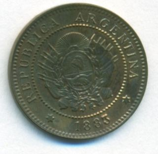 Argentina Coin 1 Centavo 1883 Copper Cj 39.  2 Km 32 Xf photo