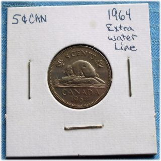 Rare 1964 Extra Water Line Key Date Canada Nickel Canadian 5 Cents Circulated photo