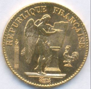 1893 Gold 20 Francs Angel France,  Brilliant Uncirculated photo