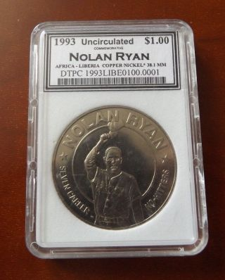 Uncirculated 1993 Liberia - Nolan Ryan - $1.  00 Commemorative Coin photo