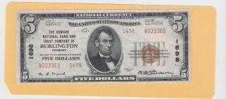 $5 Howard Nat ' L Bank & Trust Co,  Burlington,  Vermont,  1929 - Type 2,  Charter 1698 photo