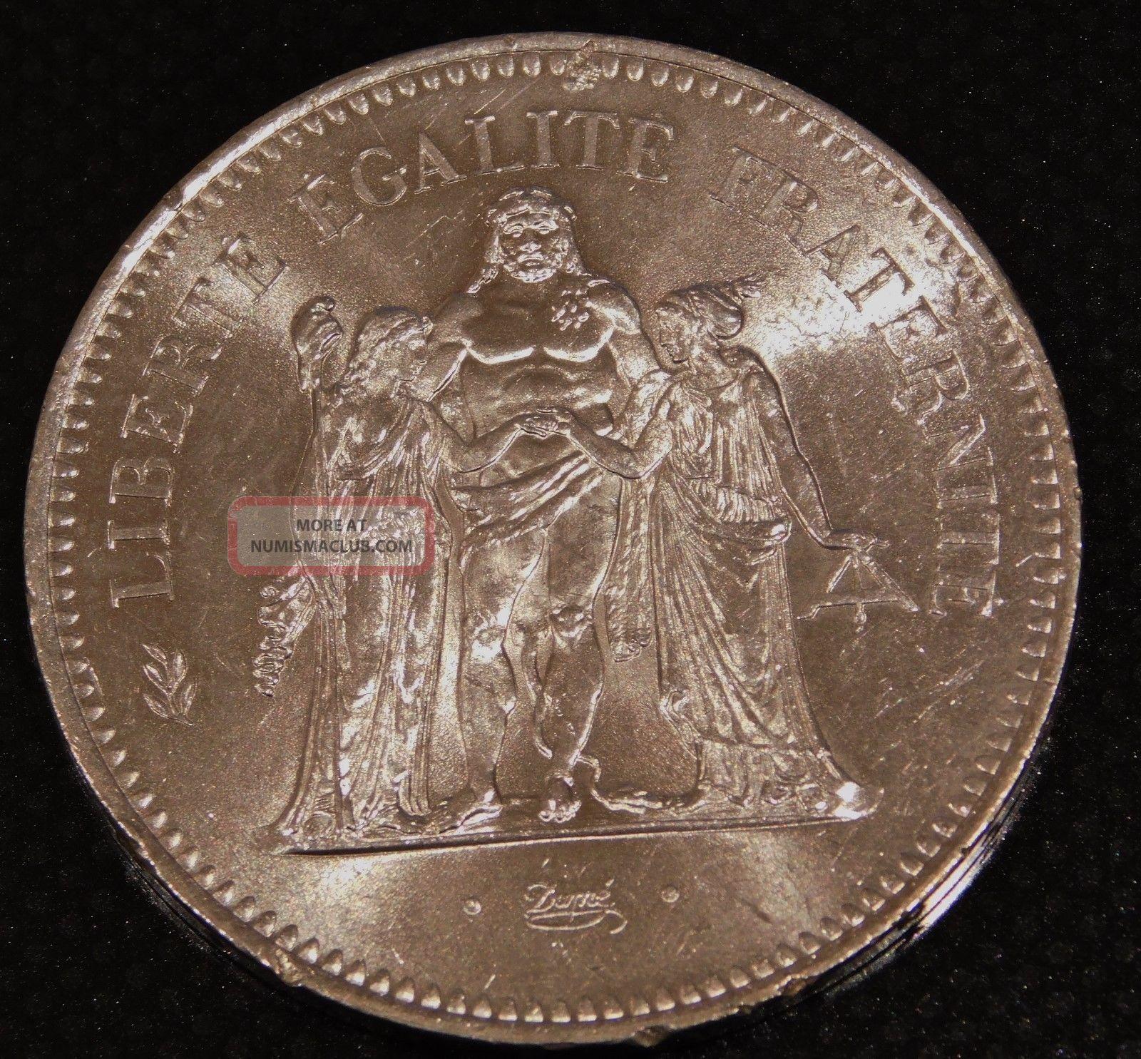 France 1976 50 Francs Silver Dollar Size Coin France photo