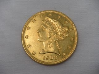 1908 Gold Half Eagle $5 Liberty Head Unc photo