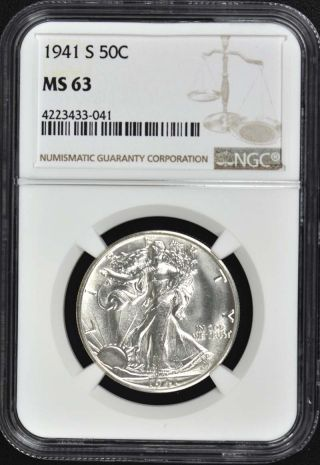 1941 - S Walking Liberty Half Dollar 50c Ngc Ms63 photo