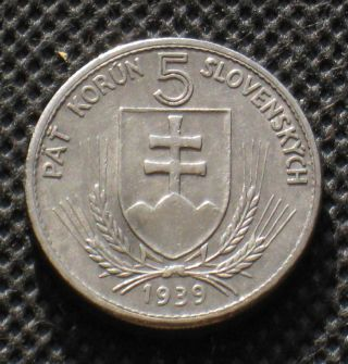 Old 5 Korun 1939 Coin Of Slovakia World War Ii Ag photo