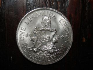 Bermuda Crown 1964 Elizabeth Ii Bu Unc Lion Arms -.  500 Silver photo