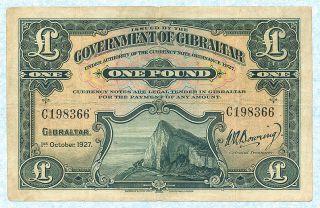 Gibraltar 1 Pound 1927 P12 F Rare photo