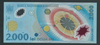 Romania 2000 Lei 1999 Prefix 007c P - 111a Choice Crisp Unc Cu Total Solar Eclipse photo
