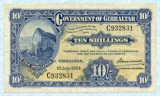 Gibraltar 10 Shillings 1953 P14b Vf photo