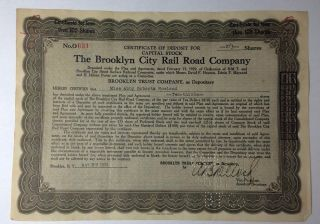 1930 The Brooklyn City Rail Road Company 2\3 Share Capital Stock Certificate photo