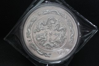 99.  99 Chinese 1988 Year Traditional Zodiac Drgon 5oz Silver Medal A9 photo