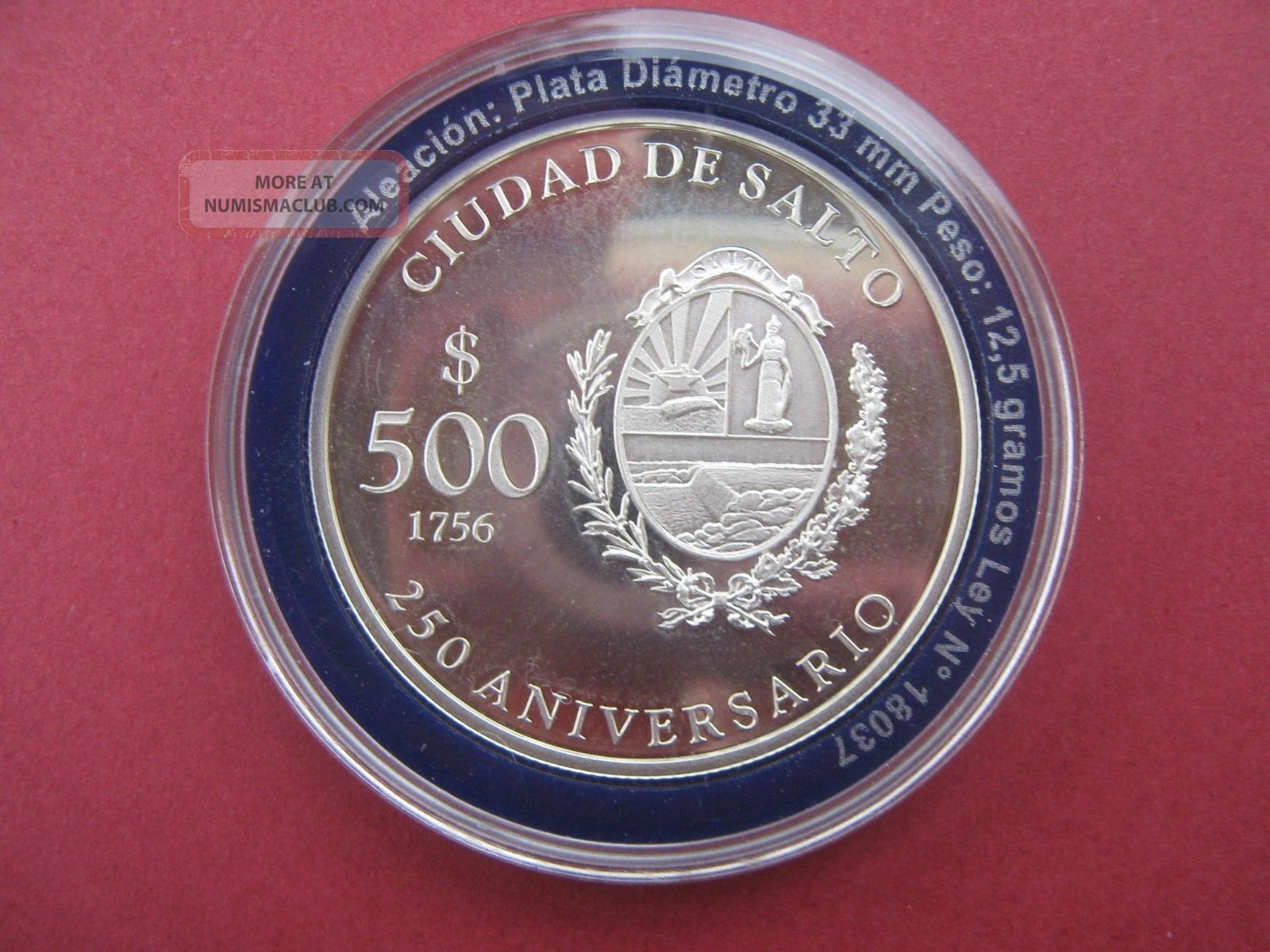 Uruguay - 900 Silver Coin 500 Pesos 2006 - 250 Aniversary Of Salto City - Unc South America photo
