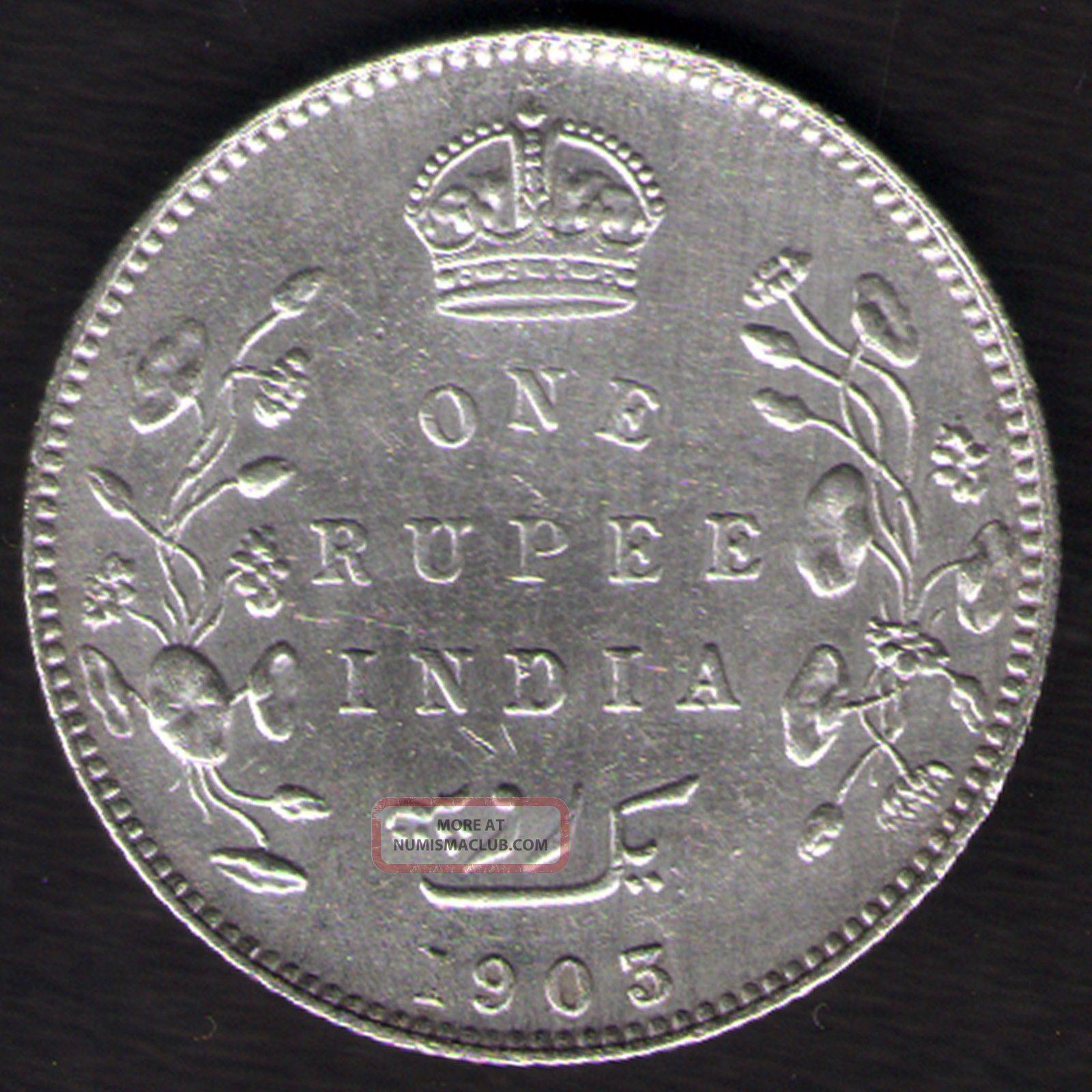 British India - 1905 - Edward Vii One Rupee Silver X - Fine Coin Ex - Rare Date British photo