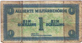 Paper Money Banknote 1 Ein Schilling Oesterreich Austria 1944.  Vg.  Pick: P - 103b photo