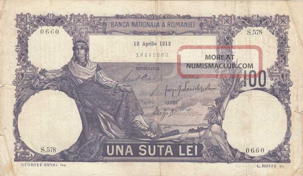 Romania 100 Lei 12 Aprilie 1913 - Rare Europe photo