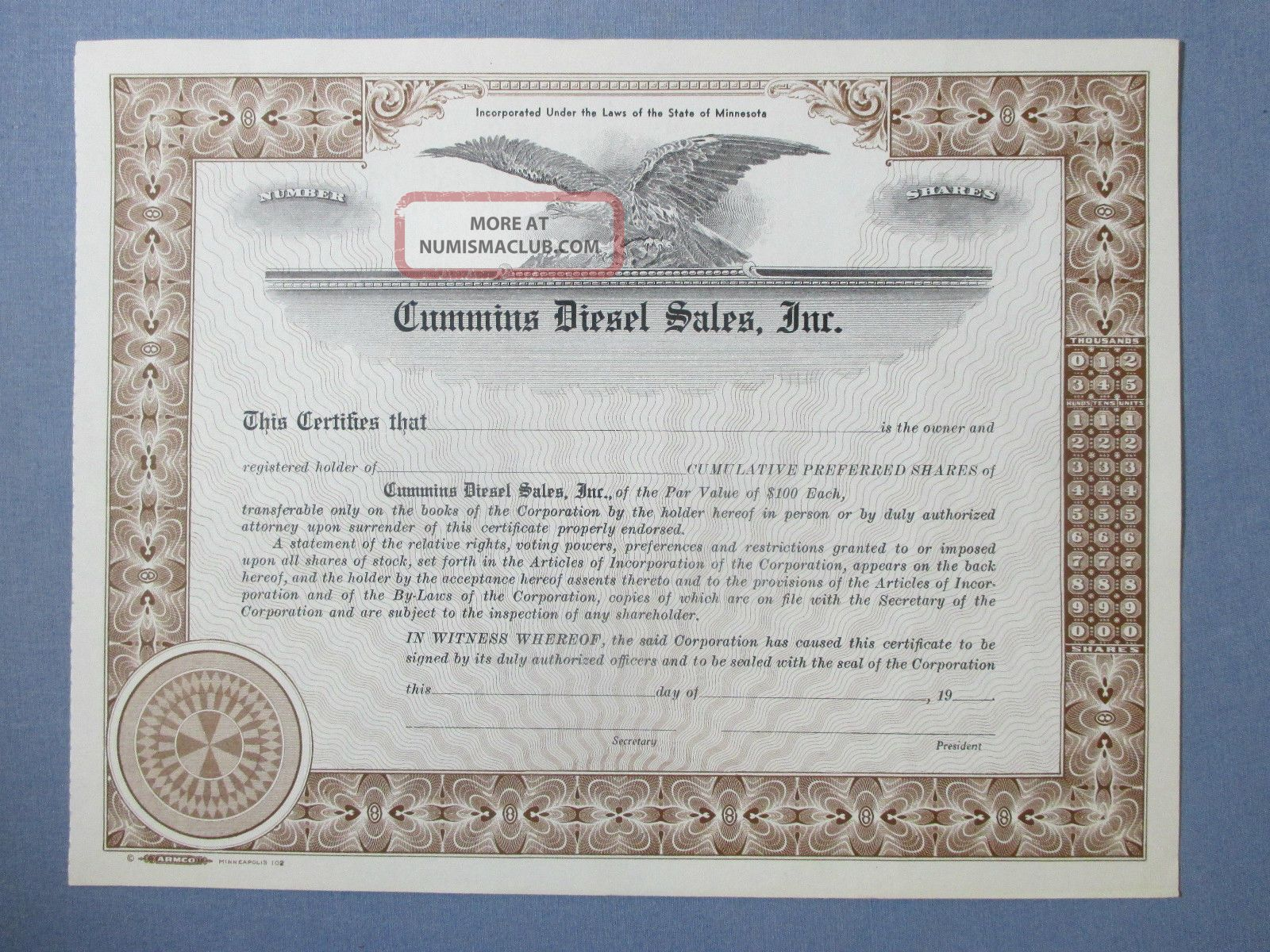 Vintage Specimen Cummins Diesel Sales Stock Certificate Minneapolis Mn Stocks & Bonds, Scripophily photo