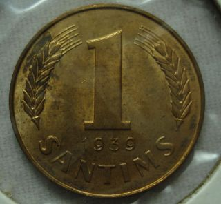 Latvia 1 Santim 1939 Unc photo