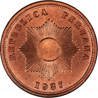 Peru 1937 2 Centavos Choice Red Bu photo