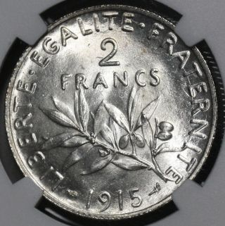 1915 Ngc Ms 64 France Bu Silver 2 Francs Sower Semeuse Coin (16040301d) photo