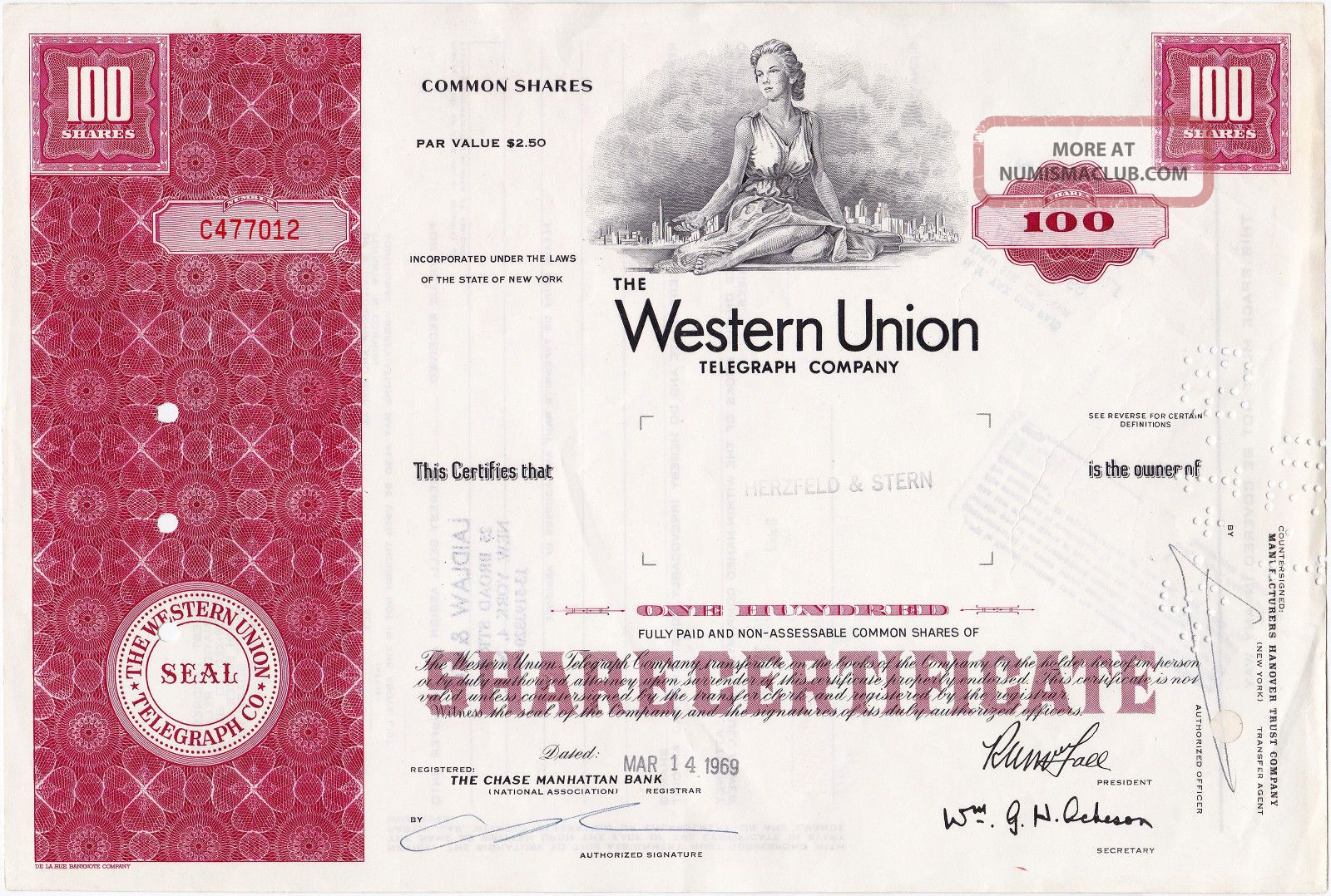 Western Union Telegraph Company,  100 Shares 1969,  Stock Certificate Stocks & Bonds, Scripophily photo