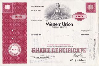 Western Union Telegraph Company,  100 Shares 1969,  Stock Certificate photo