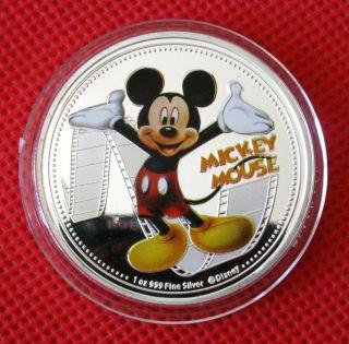 Mickey Mouse,  Daisy Classic Cartoon,  Colored,  Silver Plated Coin,  Souvenir Token photo