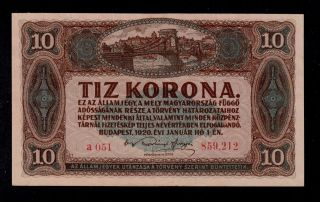 Hungary 10 Korona 1920 Pick 60 Au - Unc Banknote. photo
