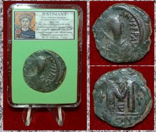 Ancient Byzantine Empire Coin Justinian I Bust Of Emperor Constantinople photo
