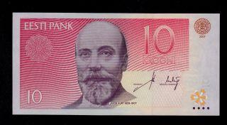 Estonia 10 Krooni 2007 Cr Pick 86b Unc -.  Banknote. photo