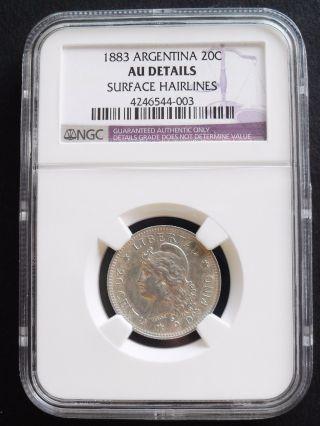 1883 Argentina 20 C,  Ngc Au Details,  Silver Coin photo