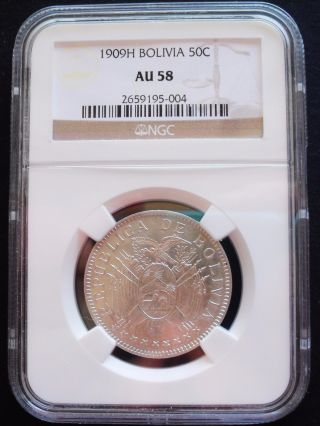 1909 - H Bolivia 50 Centavos,  Ngc Au 58,  Silver Coin photo