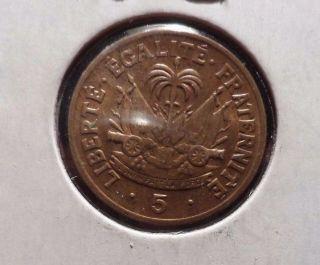 Circulated 1953 5 Centimes Haiti Coin (81315) photo