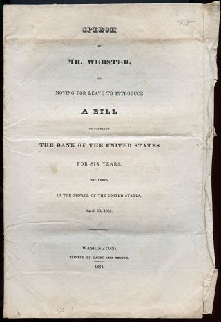 Daniel Webster Bill To Continue Bank Of The United States 1834 photo
