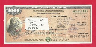 Us Savings Bond Franklin Bond $1,  000 Cashed Series Ee 05 - 2010 photo