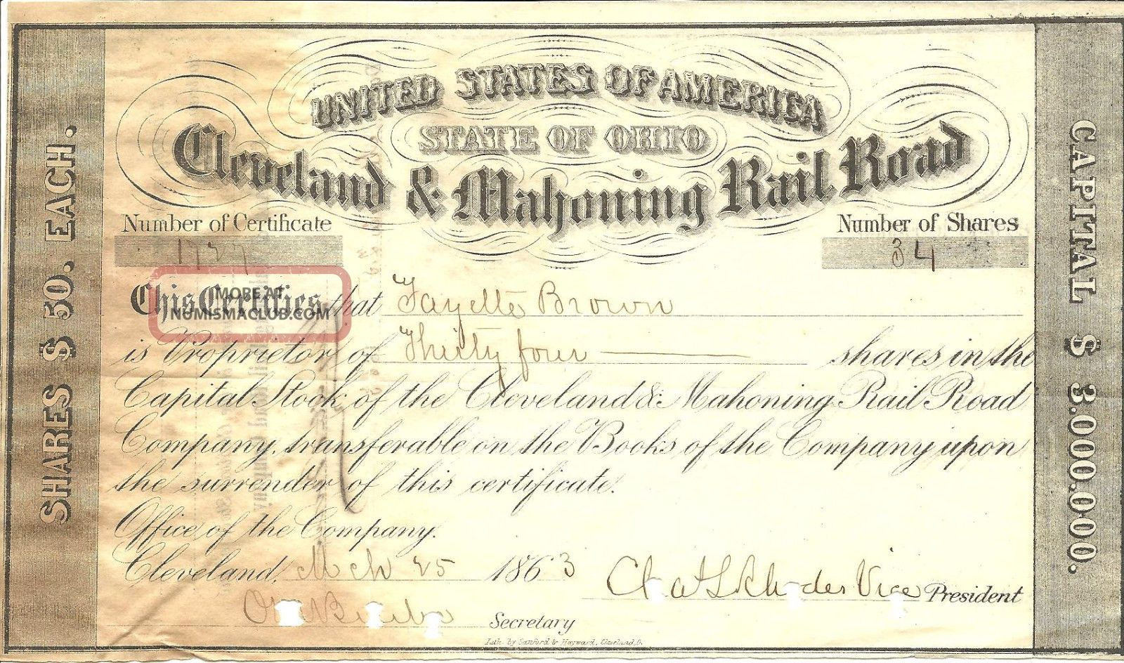 1863 Civil War,  Railroad Stock Certificate From Ohio,  Cleveland & Mahoning Rr Transportation photo