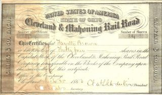 1863 Civil War,  Railroad Stock Certificate From Ohio,  Cleveland & Mahoning Rr photo