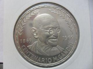 Republica De Guinea Ecuatorial (gandhi) 75 Pesetas 1970 (proof Silver) photo
