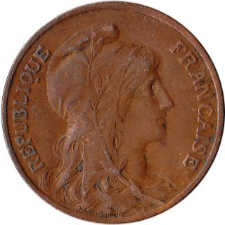 1911 France 10 Centimes Large Coin Liberty Km 843 photo