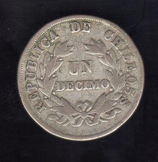 Chile Un Decimo 1880,  Silver photo