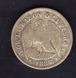 Chile 1 Decimo 1887,  Silver photo